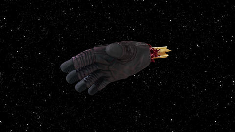 Cosmonauts hand without body in space. Computer generated space background, 3d Live Action