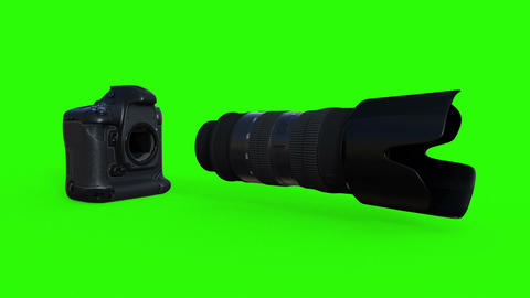 photo equipment, camera with lens, animation, green phone Live Action