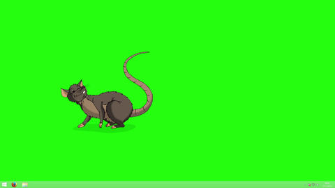 Brown rat falls asleep and wakes up animation Chroma Key Animation