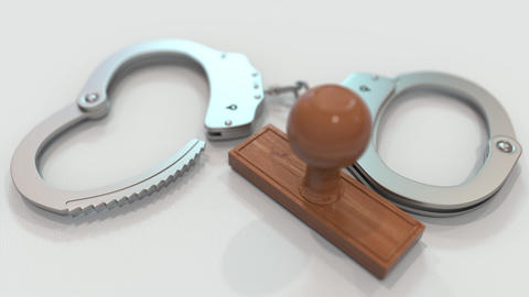 DRUG TRADE stamp and handcuffs. Crime and punishment related conceptual 3D Live Action