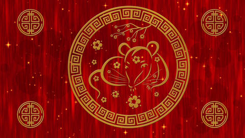 Lunar New Year, Spring Festival red silk background with golden rat, glittering Animation