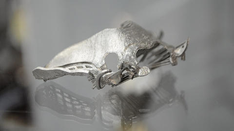 Object printed on metal 3d printer close-up Live Action