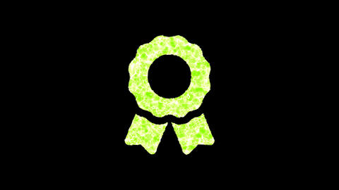 Symbol award shimmers in three colors: Purple, Green, Pink. In - Out loop. Alpha channel Animation