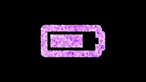 Symbol battery three quarters shimmers in three colors: Purple, Green, Pink. In - Out loop. Alpha Animation