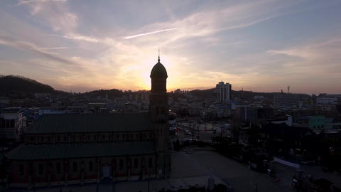 Aerial View of Jeondong Catholic church in Jeonju Hanok Village Traditional Korean Town, Jeonju, Live Action