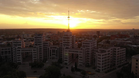 Top view and front view of the Soviet building - Derzhprom in the upcoming shoot Live Action