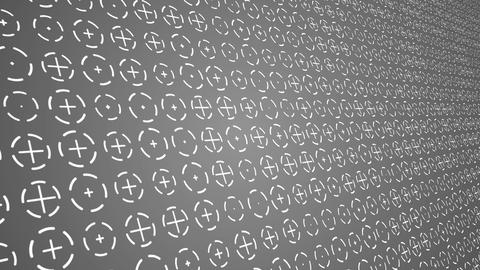 Rotating white crosses and circles animated gray background close up CG動画