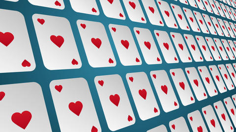 Playing card suits hearts pattern close up animated background Animation