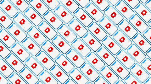 Smartphones diagonal pattern likes animated background Animation