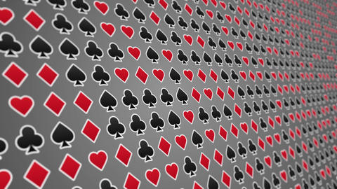 Playing card suits hearts diamonds clubs spades pattern close up Animation
