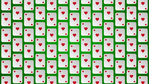 Playing card suits hearts pattern animated background Animation