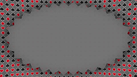 Playing card suits hearts diamonds clubs spades pattern frame gray Animation