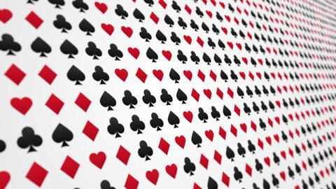 Playing card suits hearts diamonds clubs spades pattern animated background close up Animation