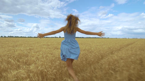 Rear view of young carefree woman in dress. She run in through field touching Live Action
