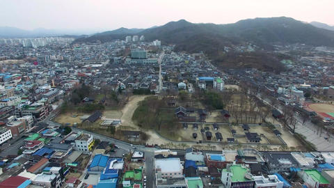 Aerial View of Gyeonggijeon in Jeonju Hanok Village Traditional Korean Town, Jeonju, Jeonbuk, South Live Action