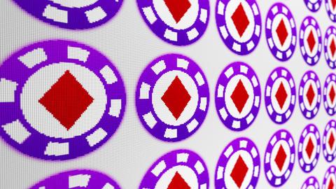 Poker chips diamonds pixel screen animated background Animation