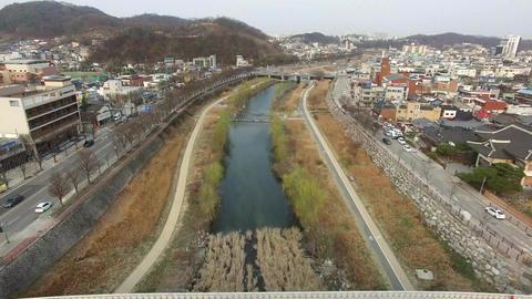 Aerial View of Namheongyo Bridgein Jeonju Hanok Village Traditional Korean Town, Jeonju, Jeonbuk, Live Action