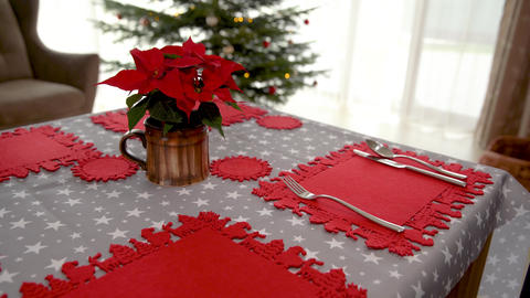 festive table setting for Christmas holidays. preparation of the dining set Live Action