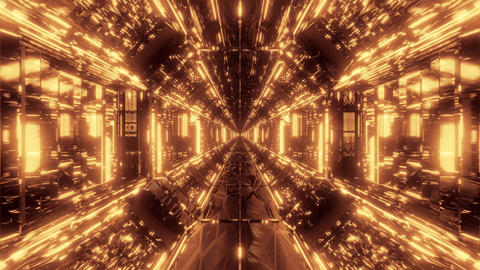 high reflective glowing scifi tunnel corridor with futuristic lights and Animation