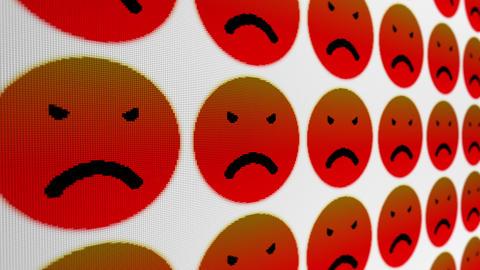 Angry sad smile icons pixel screen animated background Animation
