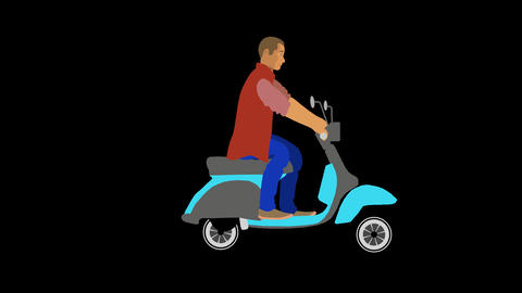 Vector Man riding a Moped Animation