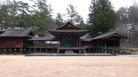 Yamanashi,Japan-December 22, 2019: Open Air Noh Stage, the stage for the performance of Nohgaku--the Live Action