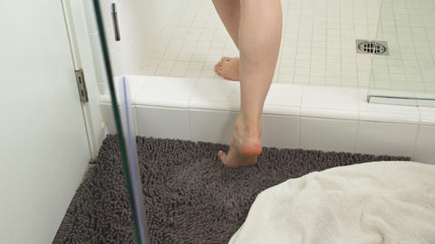 Woman Entering Shower Footage
