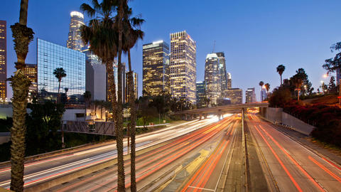 Los Angeles Night Time-Lapse Traffic Skyline Footage