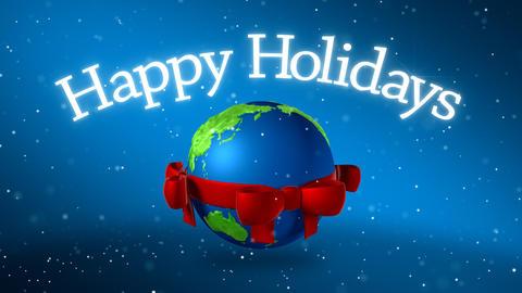 Globe With Christmas Bow Animation