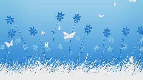 Animated Flowers And Butterflies Background Animation