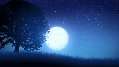 Tree and Moon Background Animation