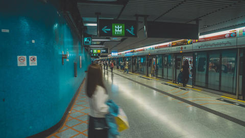Short Film - walking in Hong Kong MTR, Admiralty subway station Footage