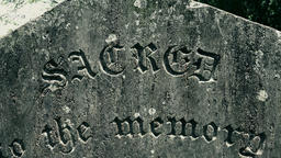 Panning video of ancient memory tombstone with sacred to the memory words Footage