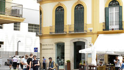 Facade of the founding of Picasso with people walking, Malaga, Andalusia, Spain Footage