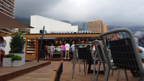 Starbucks Coffee in Monaco Footage