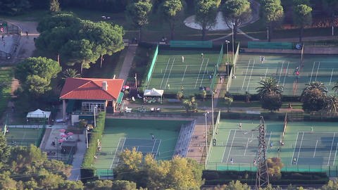 Aerial View of 7 Tennis Courts Footage