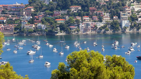 Beautiful View of Boats and Yachts in Villefranche-sur-Mer Footage