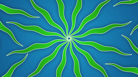 Rays and wavy shapes green blue animated background Animation