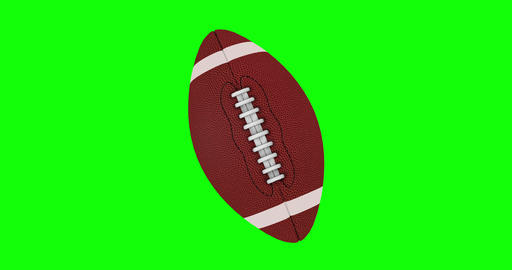 American Football Ball Rotates Seamlessly on a Green Screen Live Action