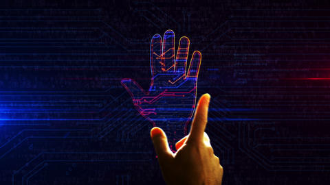 Cyber hand futuristic entry into cyberspace animation Animation