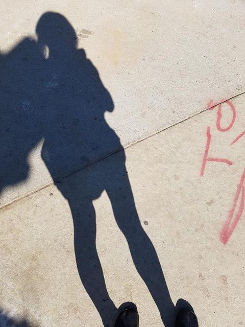 Shadow against cement sidewalk on sunny day Fotografía