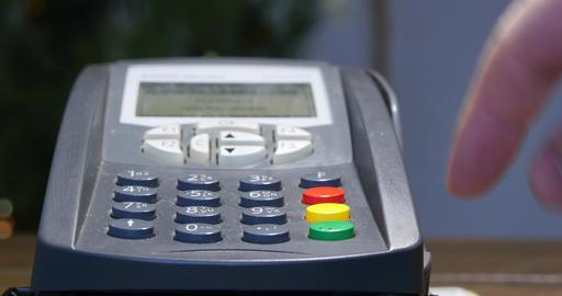 Swiping Card Through Credit Card Terminal 4k Live Action