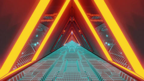 technical scifi space warship tunnel corridor with glowing wireframe bottom an Animation