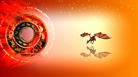 320 3d animated horoscope template with zodiac DRAGON symbol Animation