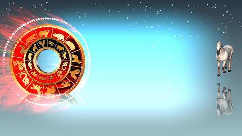 321 3d animated horoscope template with zodiac HORSE symbol Animation