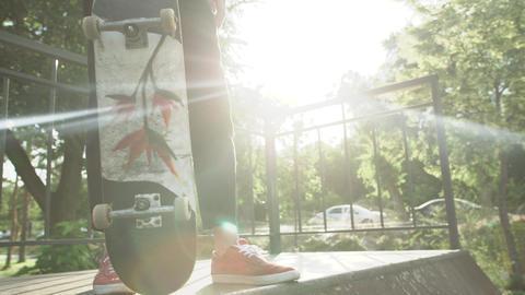 Skateboarder standing on ramp in skatepark with sunshine on background Live Action