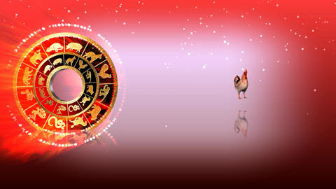 326 3d animated horoscope template with zodiac ROOSTER symbol Animation