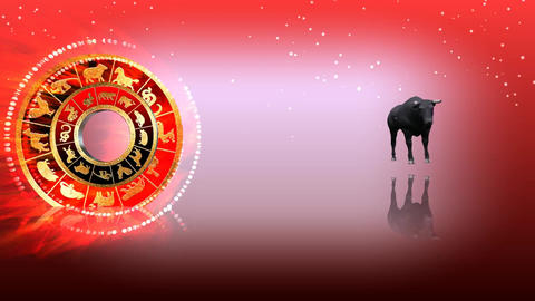 328 3d animated horoscope template with zodiacBULL symbol Animation