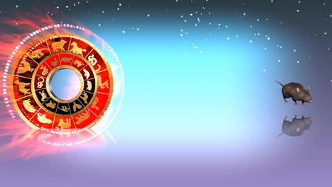 324 3d animated horoscope template with zodiac RAT symbol Animation