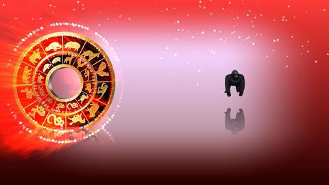 329 3d animated horoscope template for with zodiac MONKEY symbol Animation